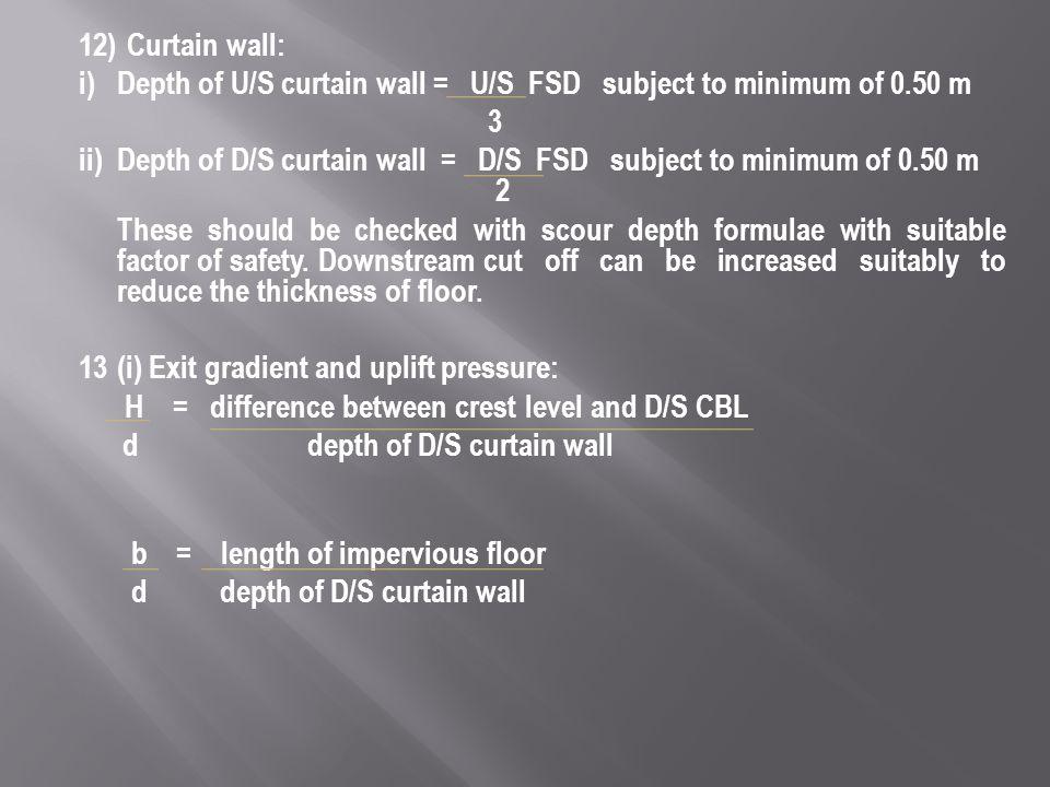 i) Depth of U/S curtain wall = U/S FSD subject to minimum of 0.50 m 3