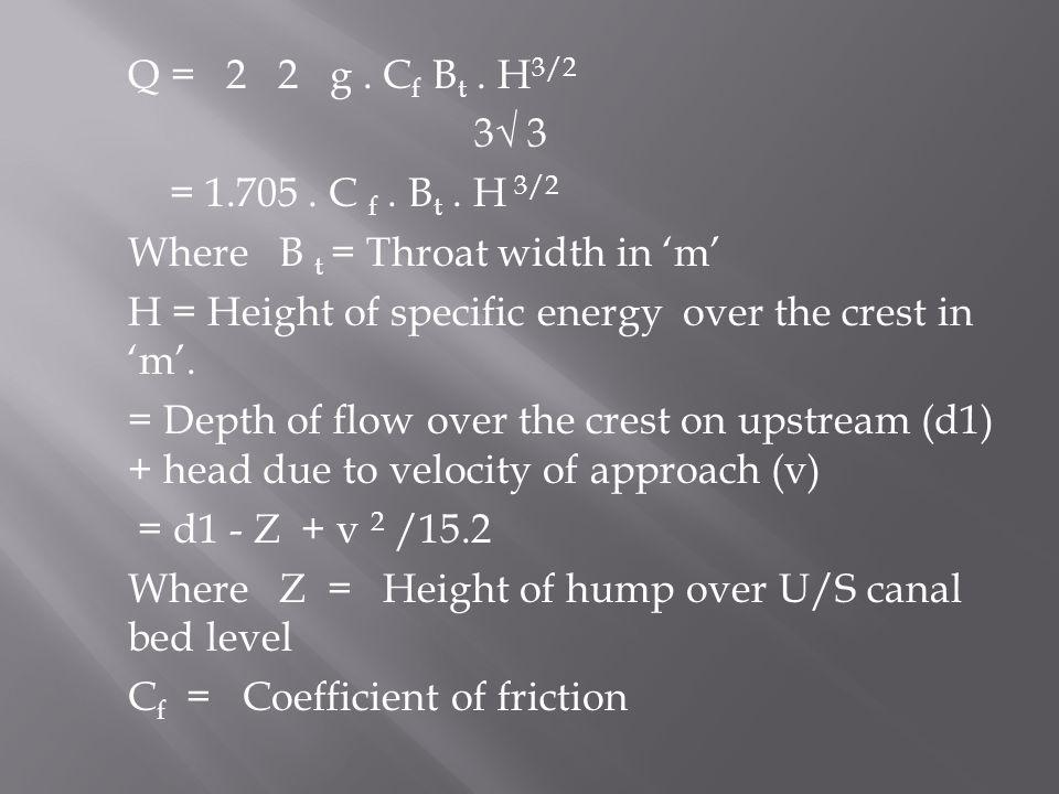 Q = 2 2 g . Cf Bt . H3/2 3√ 3 = 1.705 . C f . Bt .