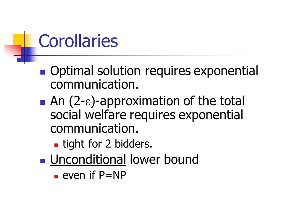 Corollaries Optimal solution requires exponential communication.