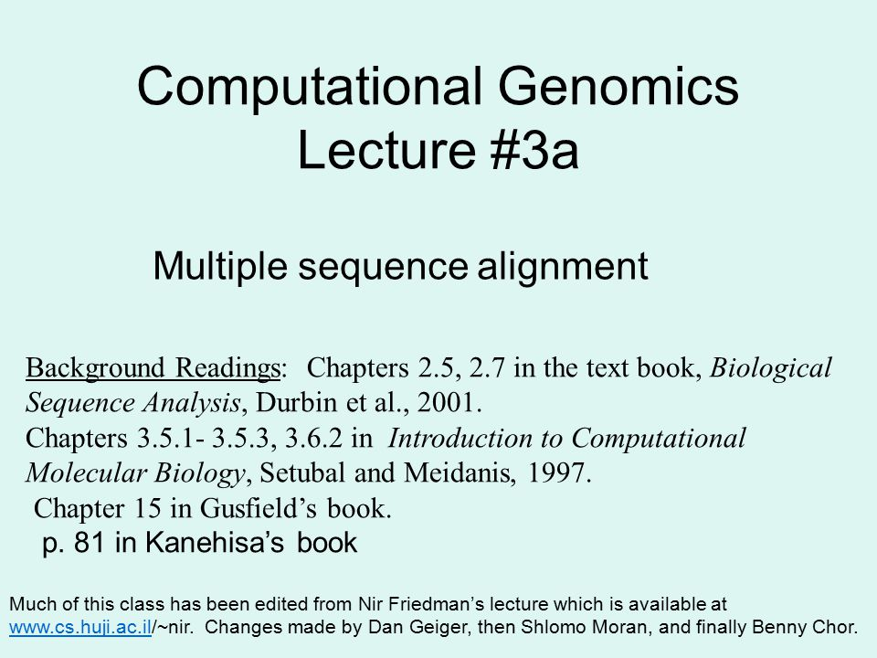 Computational Genomics Lecture #3a