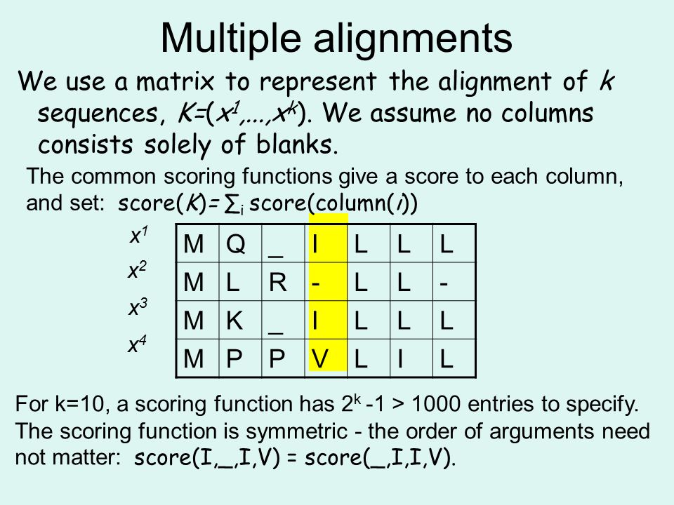 Multiple alignments We use a matrix to represent the alignment of k sequences, K=(x1,...,xk). We assume no columns consists solely of blanks.