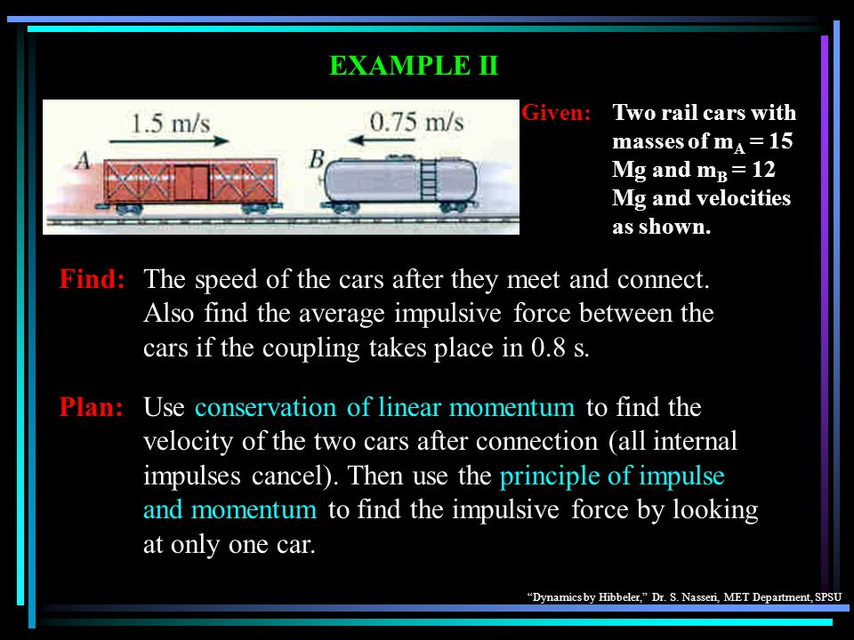 EXAMPLE II Given: Two rail cars with masses of mA = 15 Mg and mB = 12 Mg and velocities as shown.
