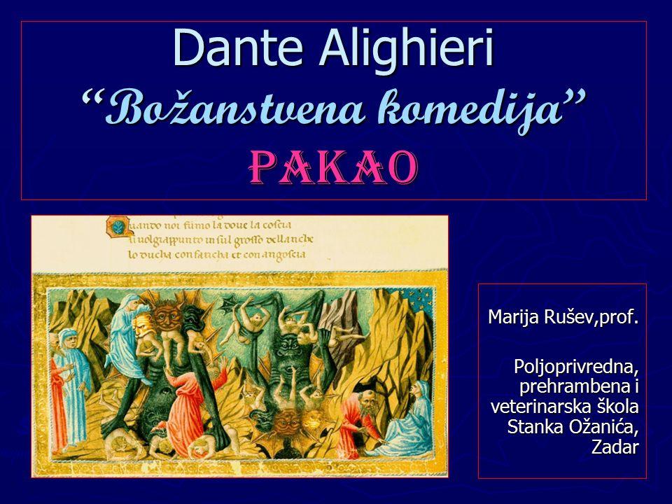 Dante Alighieri Božanstvena komedija Pakao