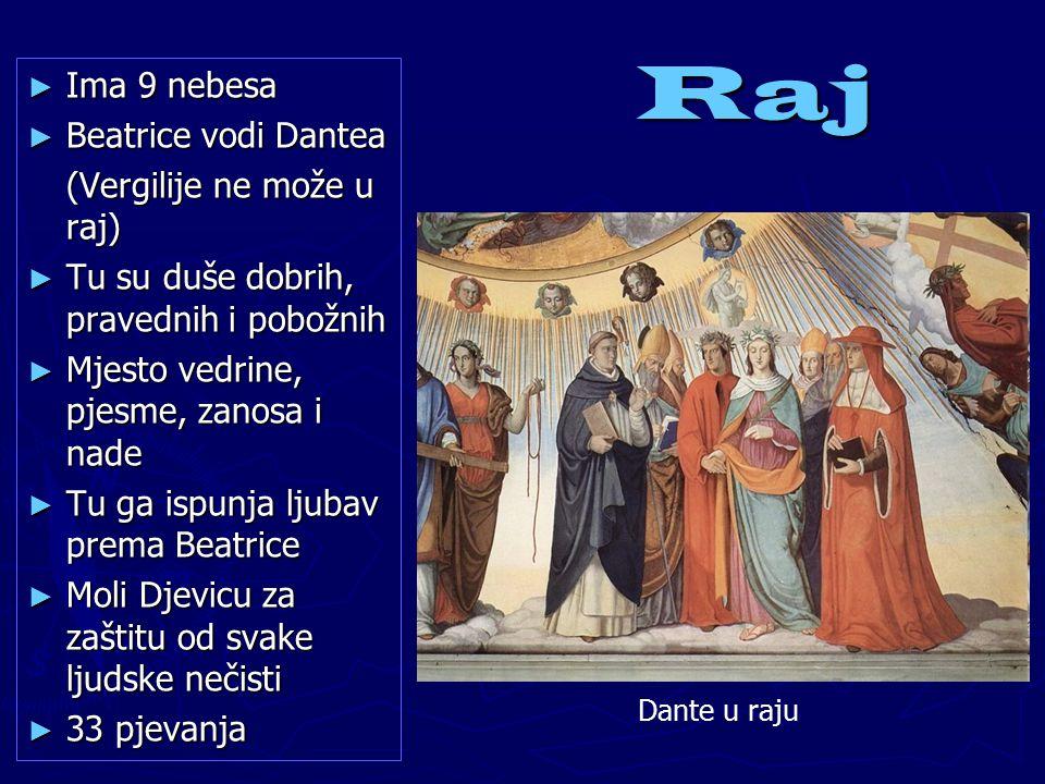 Raj Ima 9 nebesa Beatrice vodi Dantea (Vergilije ne može u raj)