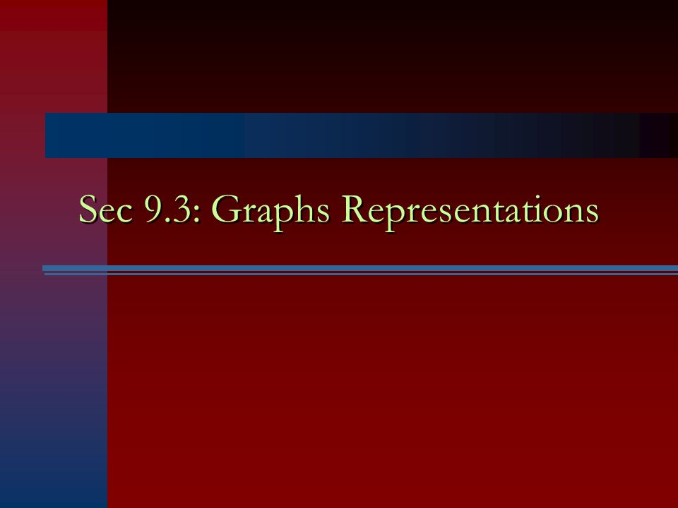 Sec 9.3: Graphs Representations