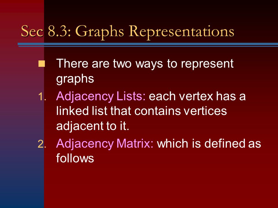 Sec 8.3: Graphs Representations
