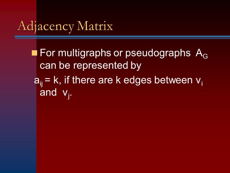 Adjacency Matrix For multigraphs or pseudographs AG can be represented by.