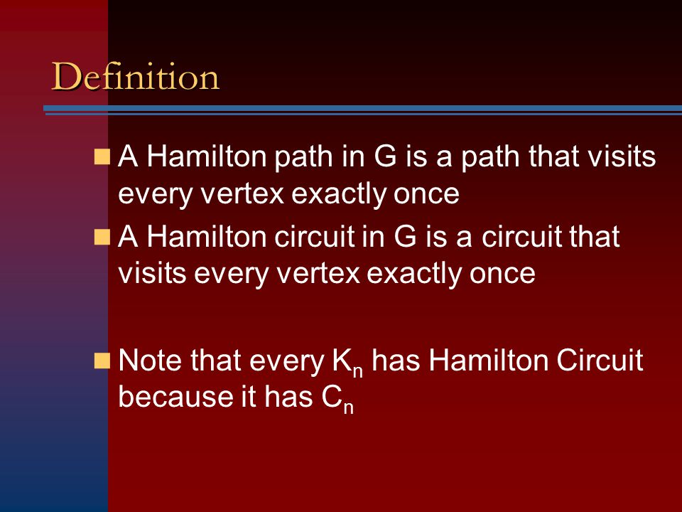 Definition A Hamilton path in G is a path that visits every vertex exactly once.