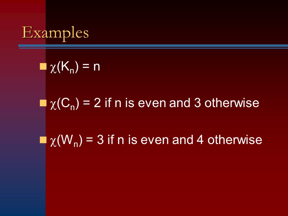 Examples (Kn) = n (Cn) = 2 if n is even and 3 otherwise