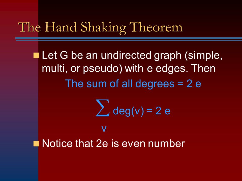 The Hand Shaking Theorem