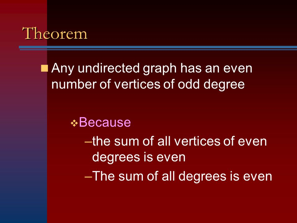 Theorem Any undirected graph has an even number of vertices of odd degree. Because. the sum of all vertices of even degrees is even.