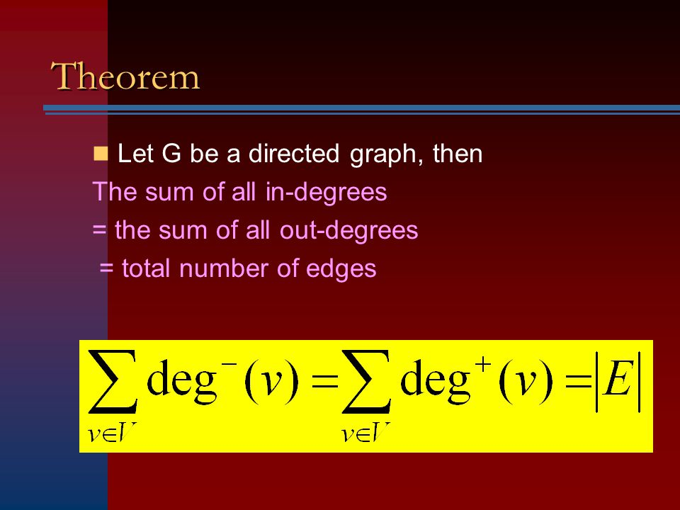 Theorem Let G be a directed graph, then The sum of all in-degrees