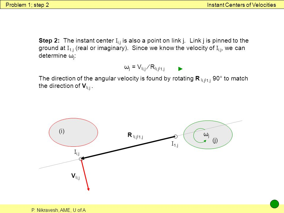 Problem 1; step 2 Instant Centers of Velocities.