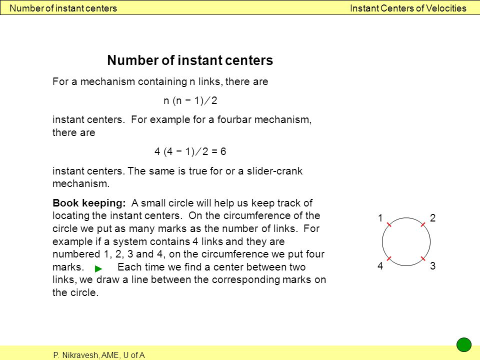 Number of instant centers