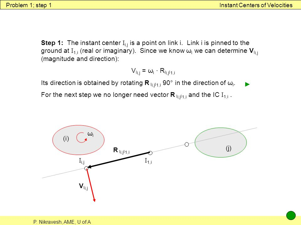 Problem 1; step 1 Instant Centers of Velocities.