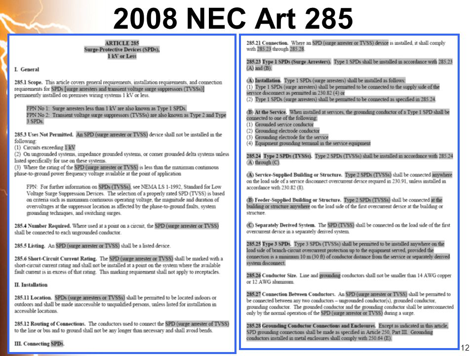 2008 NEC Art 285 12 12