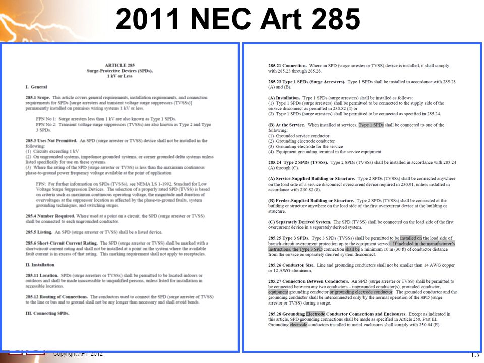 2011 NEC Art 285 13 13