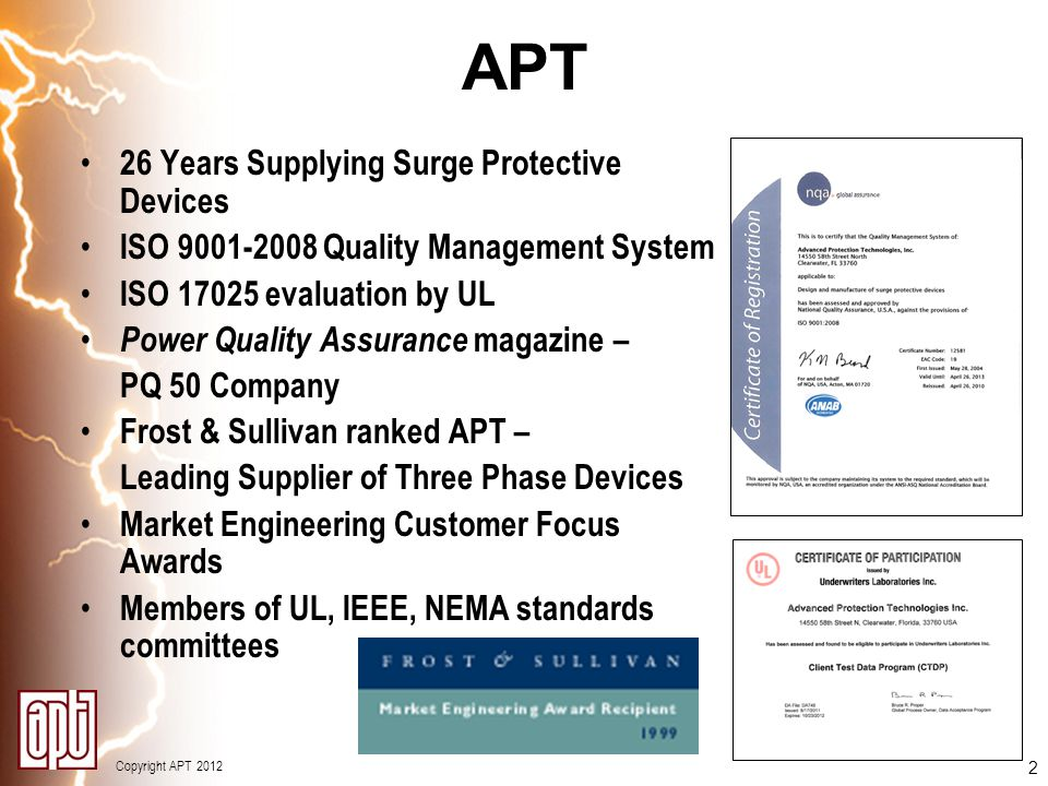 APT 26 Years Supplying Surge Protective Devices