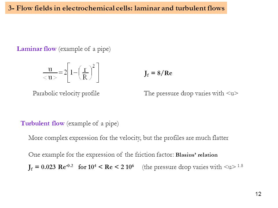 3- Flow fields in electrochemical cells: laminar and turbulent flows