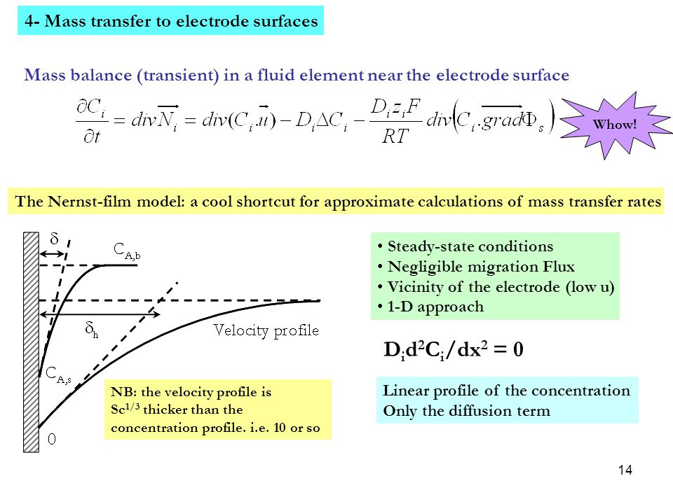 Did2Ci/dx2 = 0 4- Mass transfer to electrode surfaces
