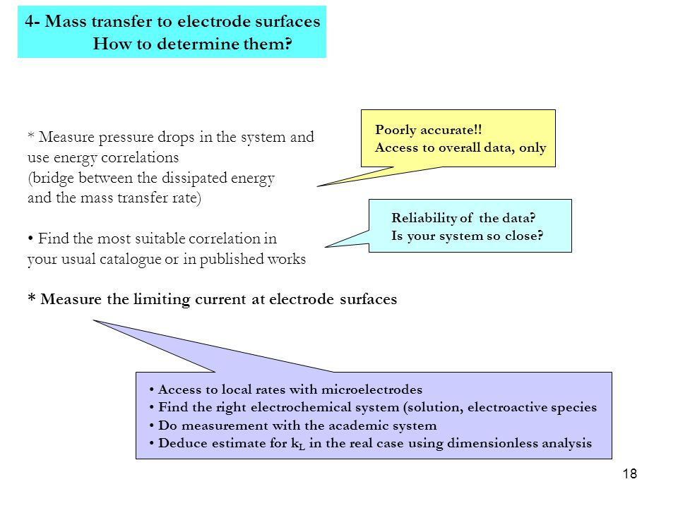 4- Mass transfer to electrode surfaces How to determine them