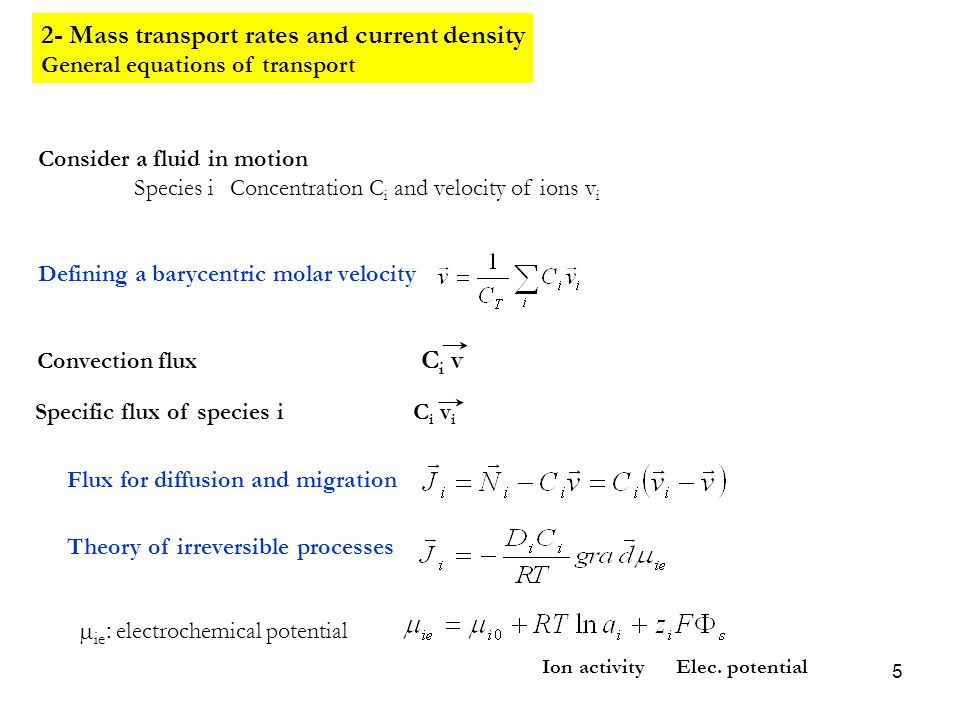 2- Mass transport rates and current density