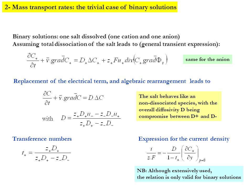 2- Mass transport rates: the trivial case of binary solutions