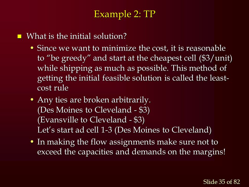 Example 2: TP What is the initial solution