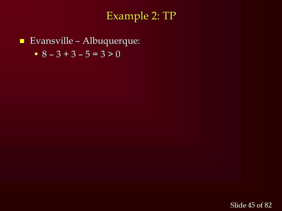 Example 2: TP Evansville – Albuquerque: 8 – 3 + 3 – 5 = 3 > 0
