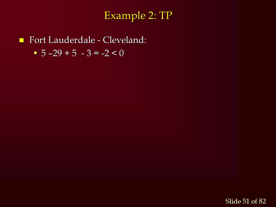 Example 2: TP Fort Lauderdale - Cleveland: 5 –29 + 5 - 3 = -2 < 0