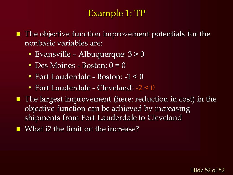 Example 1: TP The objective function improvement potentials for the nonbasic variables are: Evansville – Albuquerque: 3 > 0.