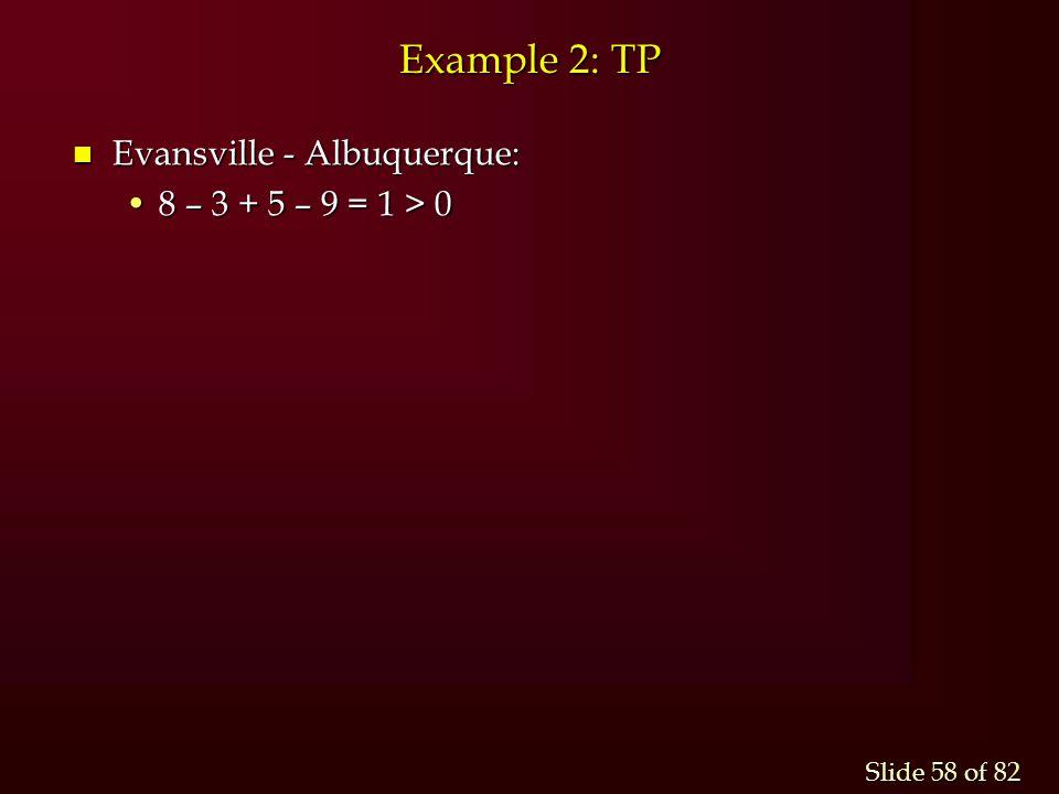 Example 2: TP Evansville - Albuquerque: 8 – 3 + 5 – 9 = 1 > 0