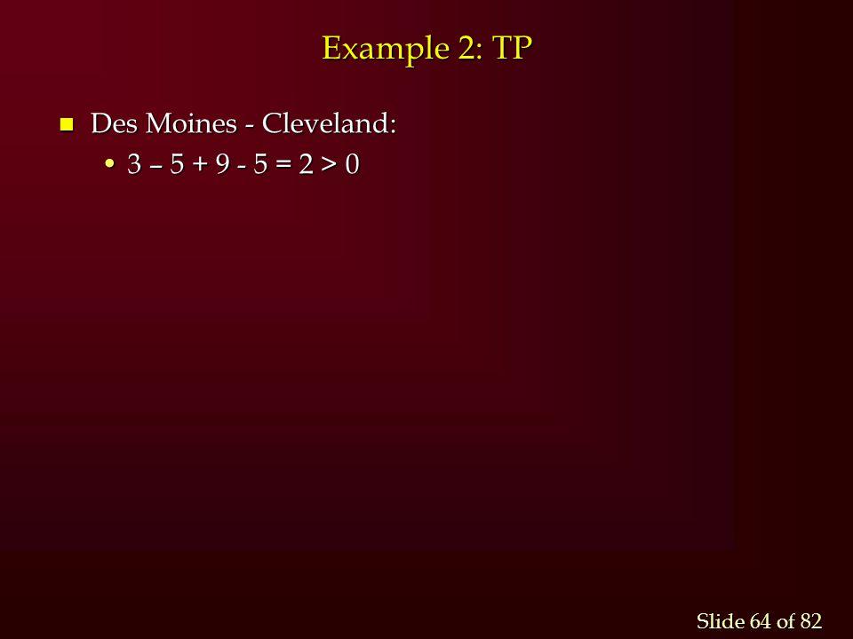 Example 2: TP Des Moines - Cleveland: 3 – 5 + 9 - 5 = 2 > 0