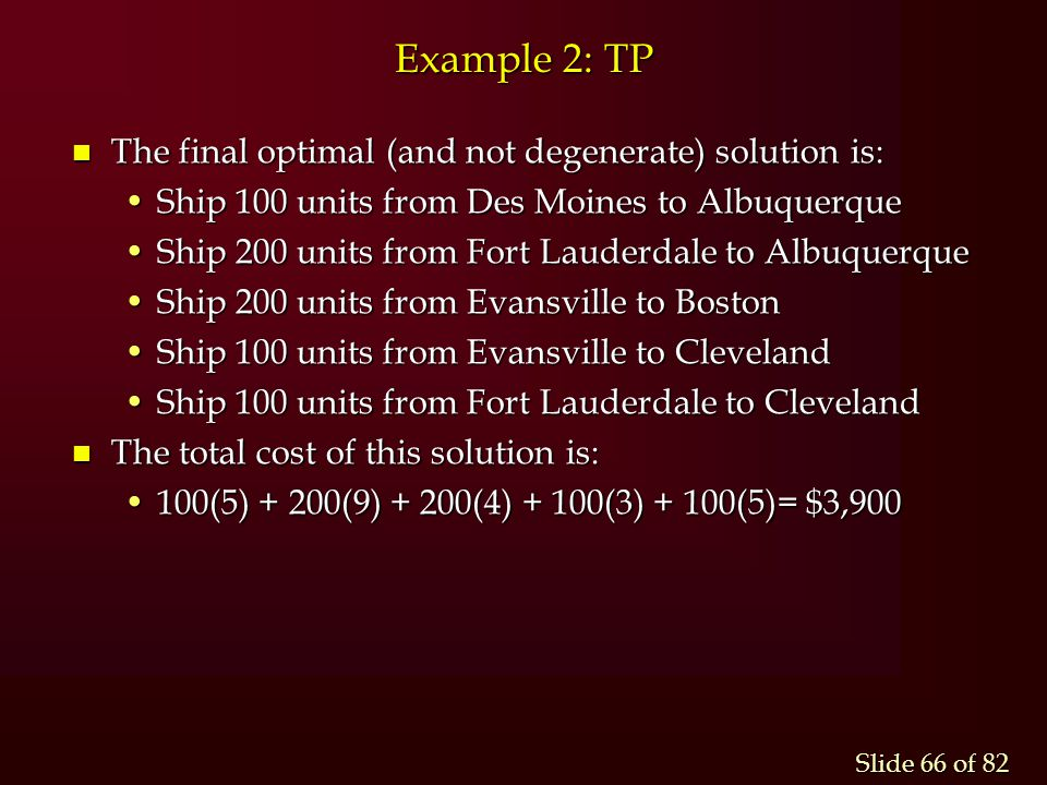 Example 2: TP The final optimal (and not degenerate) solution is: