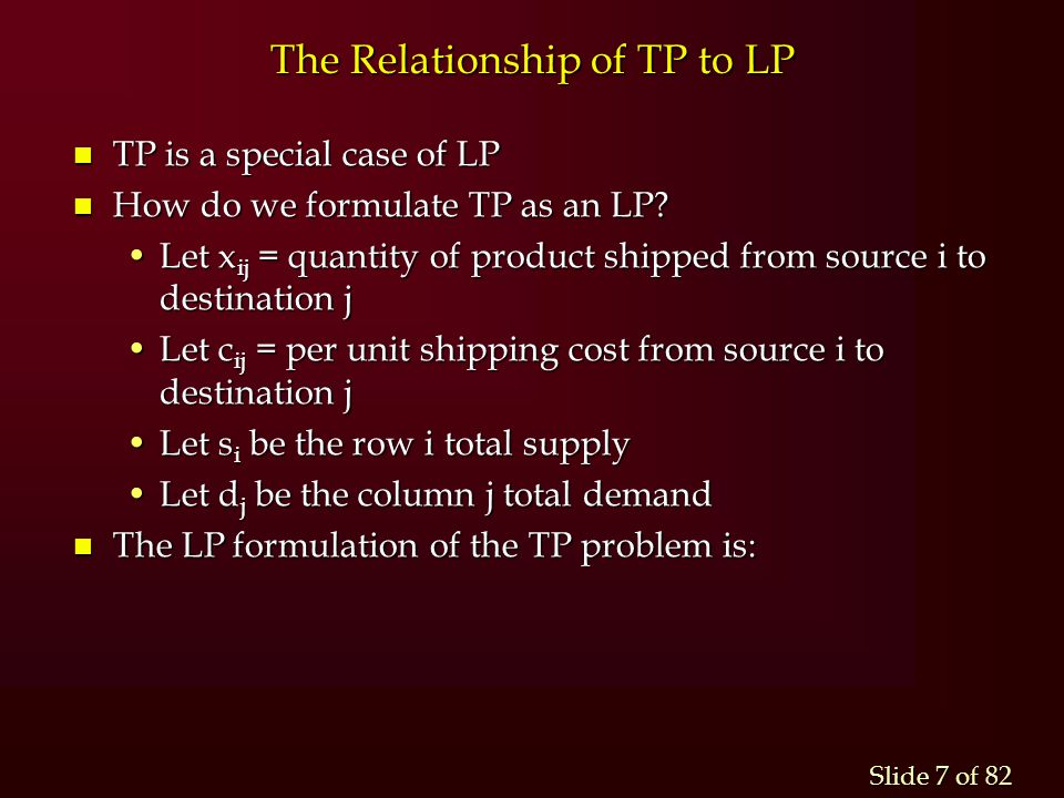 The Relationship of TP to LP