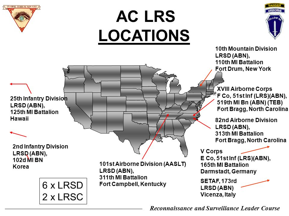 AC LRS LOCATIONS 6 x LRSD 2 x LRSC 10th Mountain Division LRSD (ABN),