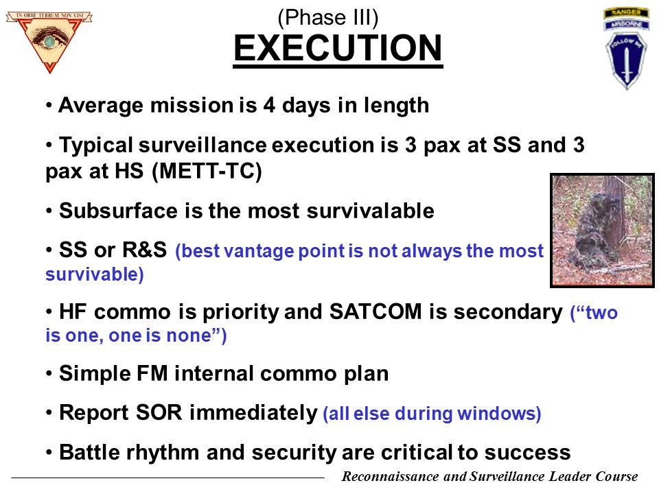 EXECUTION (Phase III) Average mission is 4 days in length