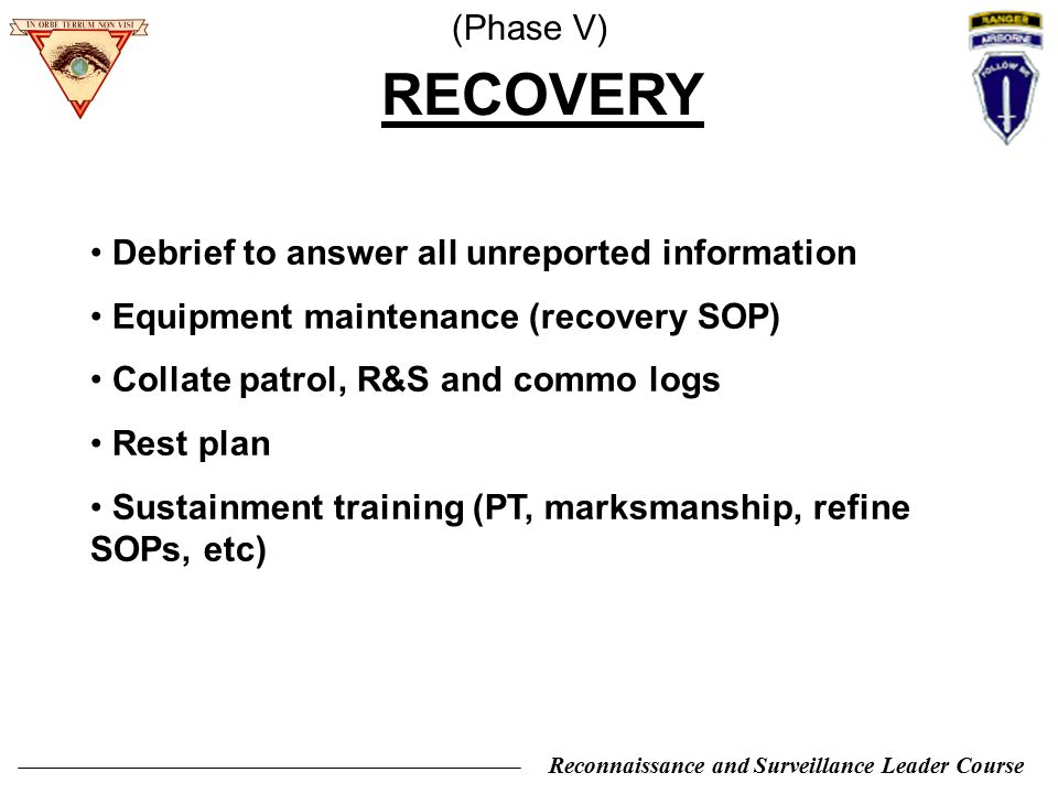 RECOVERY (Phase V) Debrief to answer all unreported information