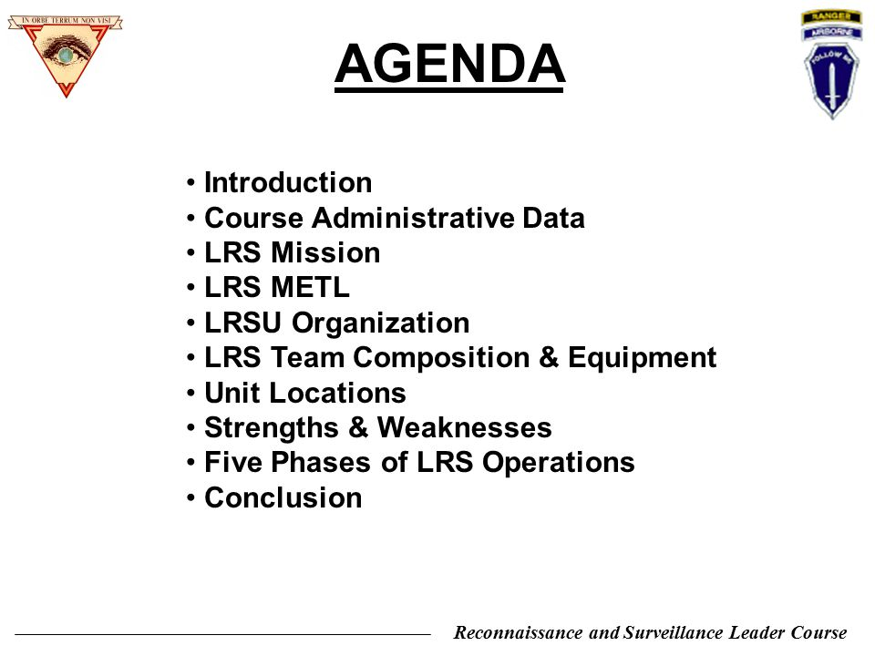 AGENDA Introduction Course Administrative Data LRS Mission LRS METL