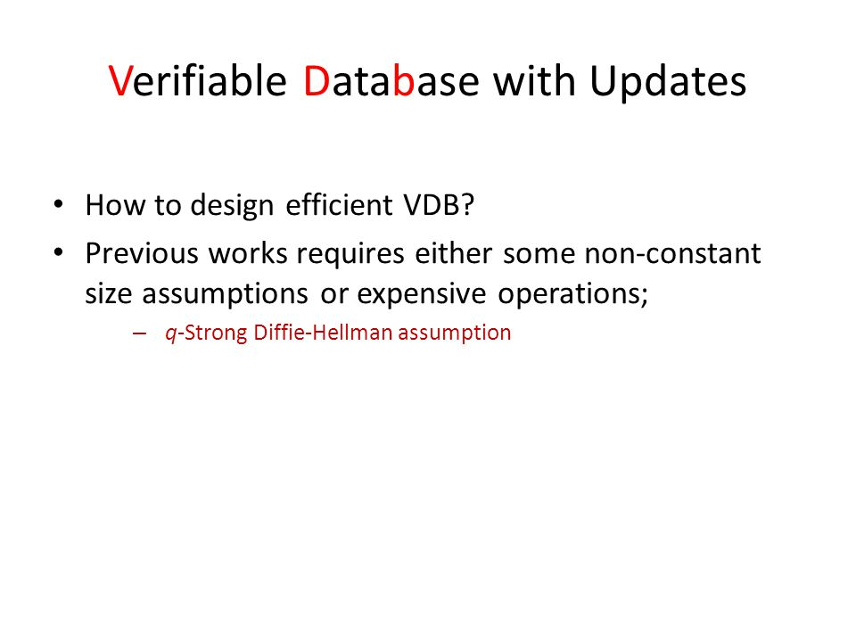 Verifiable Database with Updates