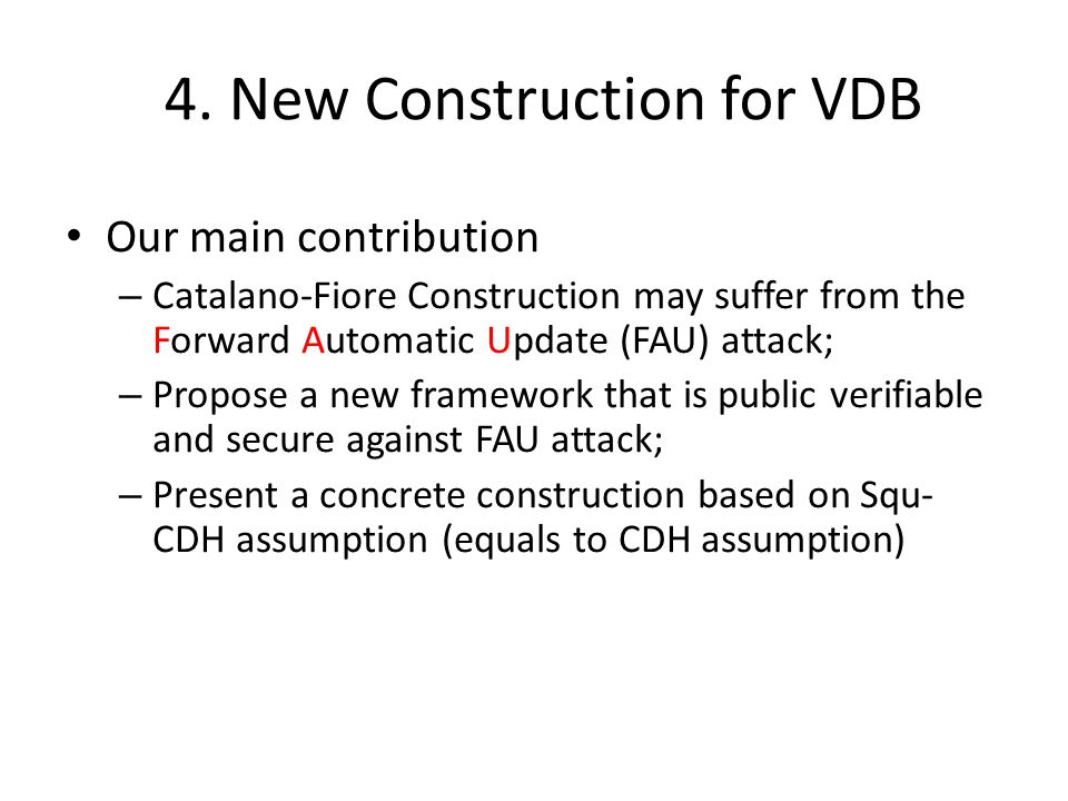 4. New Construction for VDB
