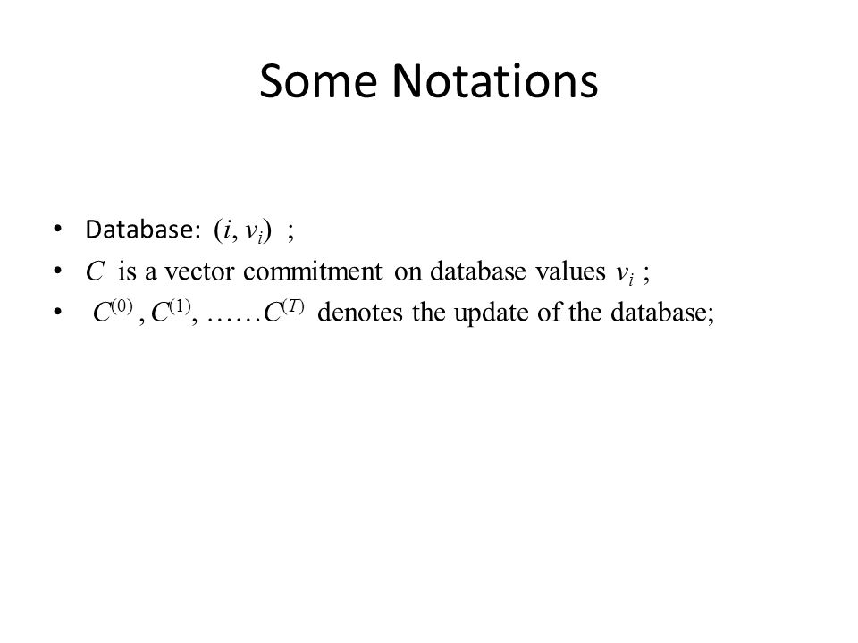 Some Notations Database: (i, vi) ;