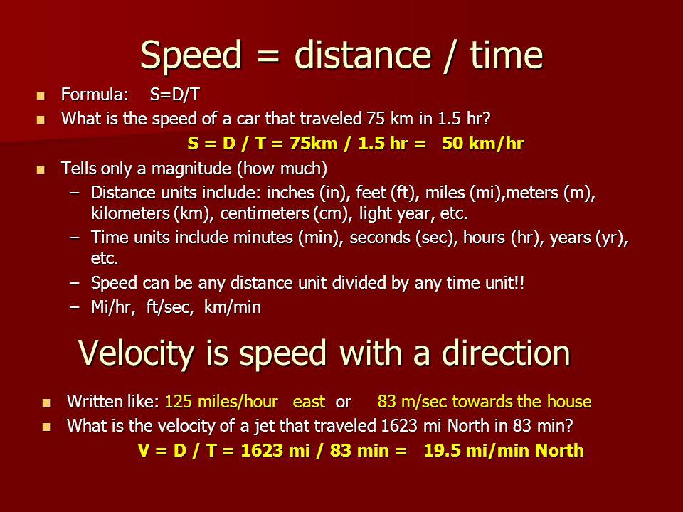 V = D / T = 1623 mi / 83 min = 19.5 mi/min North