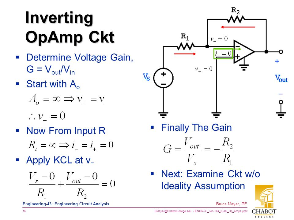 Inverting OpAmp Ckt Determine Voltage Gain, G = Vout/Vin Start with Ao