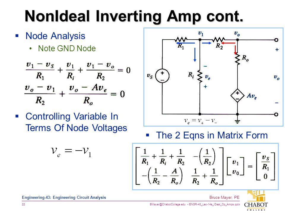 NonIdeal Inverting Amp cont.