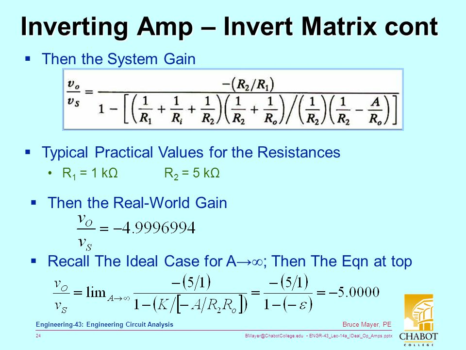 Inverting Amp – Invert Matrix cont