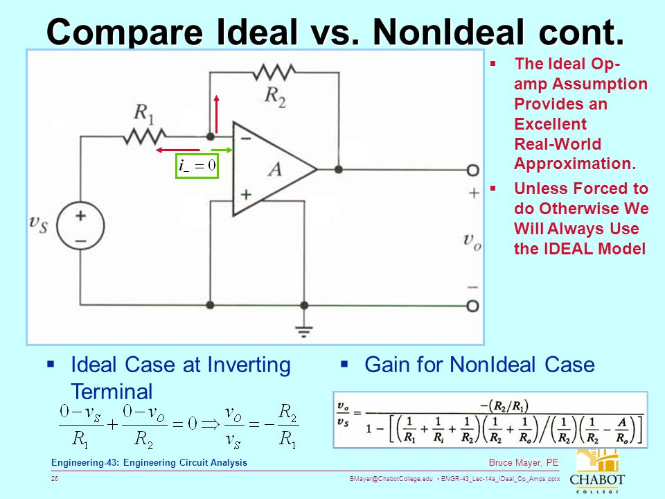 Compare Ideal vs. NonIdeal cont.