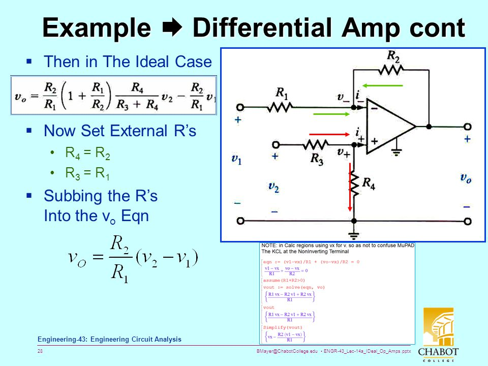 Example  Differential Amp cont