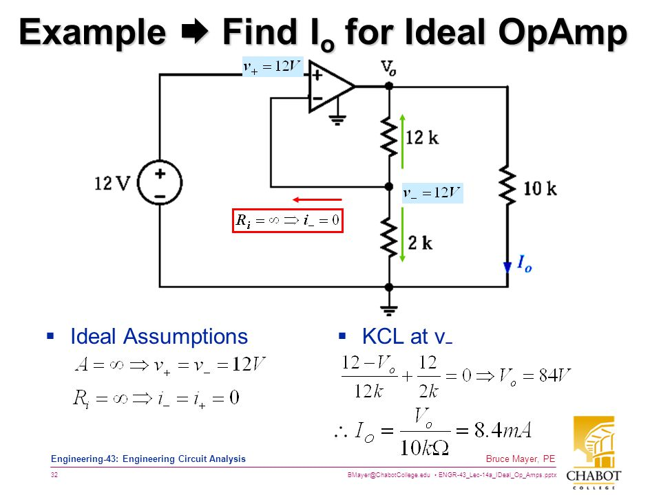 Example  Find Io for Ideal OpAmp