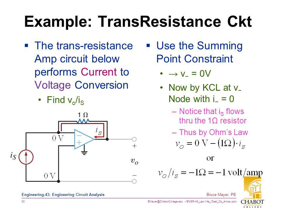 Example: TransResistance Ckt